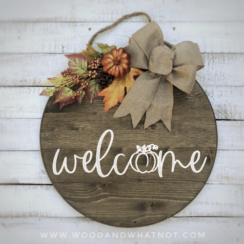 Fall welcome front door sign