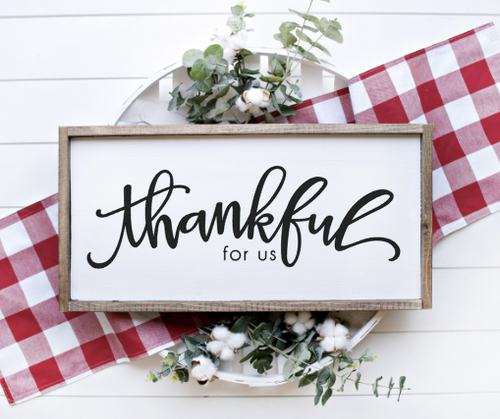 Thankful for us laser cut sign