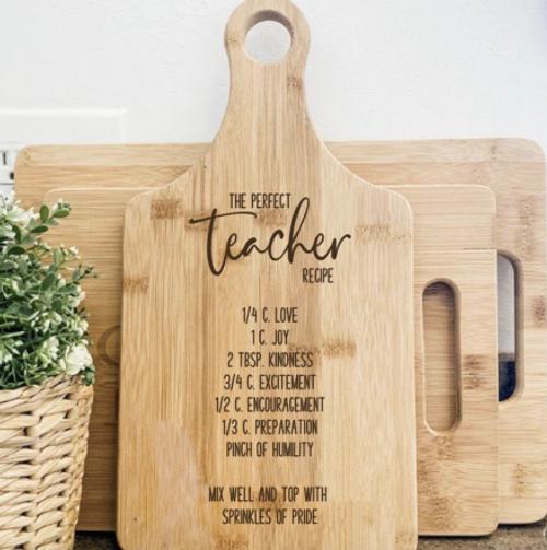 The perfect teacher recipe cutting board