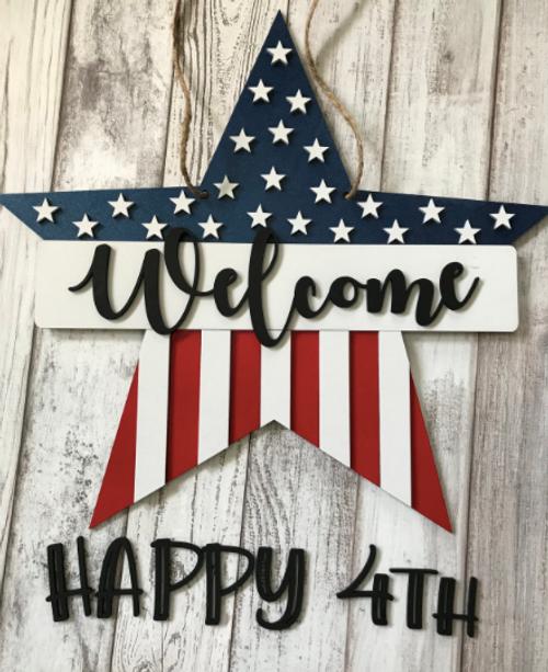Welcome/Happy 4th star shaped door hanger