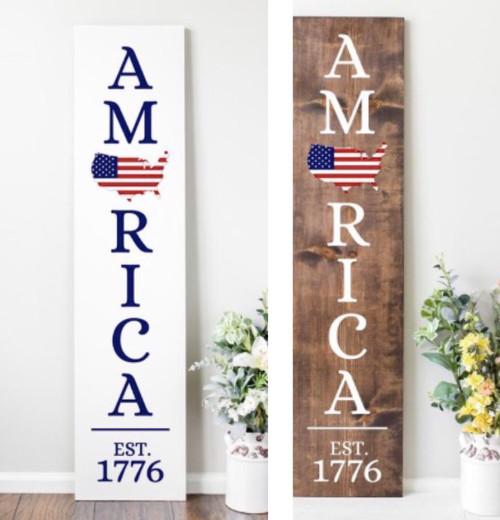 Welcome patriotic porch sign
