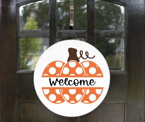 Welcome with Polka Dot Pumpkin Door Hanger