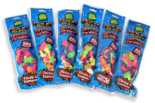 Aqua Shot [6 Pack of 200] Waterbomb Balloons Includes Nozzle Party