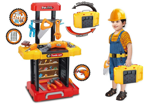 SOKA® Kids 40 Piece Toy Tool Kit Play Set Portable Working Fold-able Work Bench Workshop With Drill