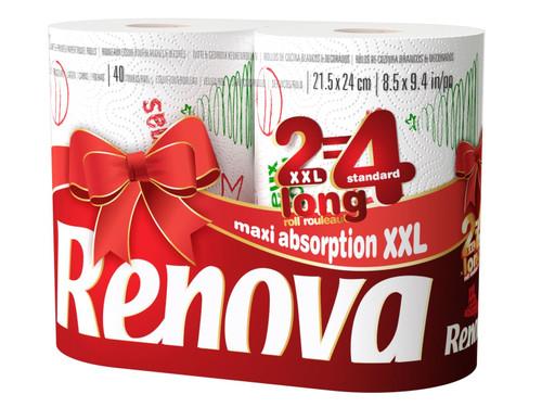 Renova White Print 2 Ply Christmas Xmas Kitchen Paper Towels - 72 Rolls