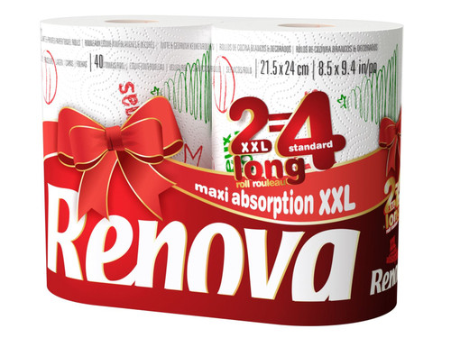 Renova White Print 2 Ply Christmas Xmas Kitchen Home Tissue Rolls Towels - 12 Rolls
