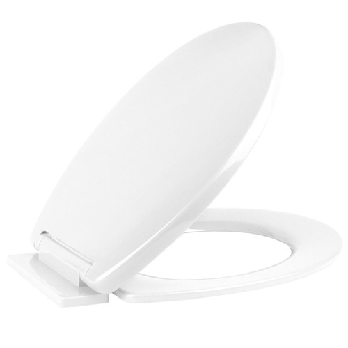 Vinsani White Oval Shaped Toilet Seat, Soft Close Toilet Seat, Fix Adjustable Hinges, WC Toilet Bathroom Plastic Loo Seat Easy Clean