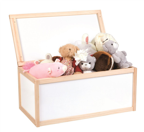 Lelin Wooden Toy Storage Unit Chest Box Childrens Toys Boxes Tidy Bedroom -  White