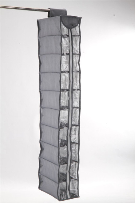Vinsani 10 Zip Section Hanging Clothes Organiser Shoe Storage Stand Organiser - Light Grey