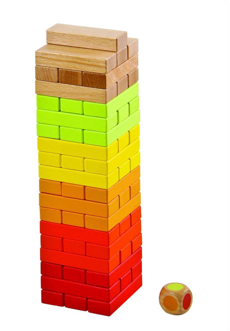 Lelin 56PC Wooden Stacking Tumbling Tower Block Game For Children Kids