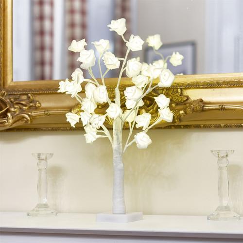 Vinsani 32 LED Artifical White Rose Twig Tree Light - Warm White