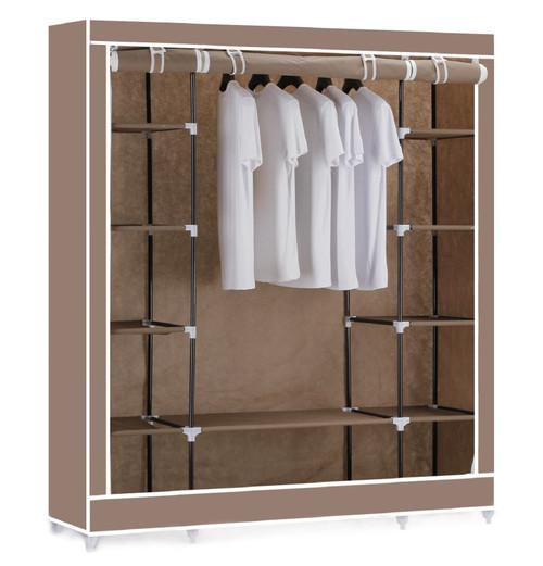 Vinsani Triple Canvas Clothes Wardrobe Hanging Rail With Storage Shelves - Brown