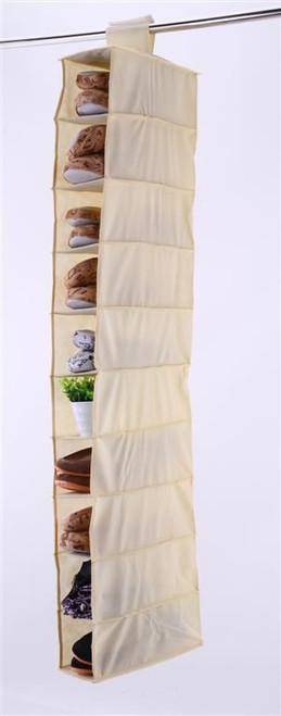 Vinsani 10 Section Hanging Clothes Organiser Shoe Storage Stand Organiser - Beige