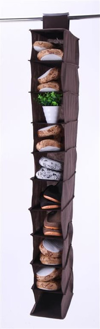 Vinsani 10 Section Hanging Clothes Organiser Shoe Storage Stand Organiser - Brown