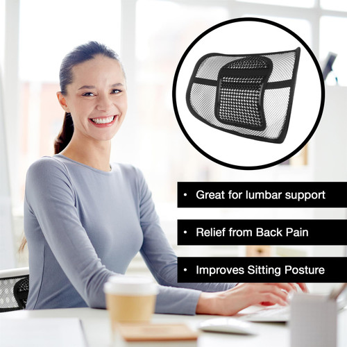 Vinsani Back Support Comfort Mesh Lumbar Back Seat Sit Support System Pain Relief for Office Chair Seat with Elasticated Positioning Strap