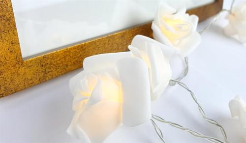 Vinsani 30 LED White Rose Chain Flower Indoor Seasonal Decor Fairy Lights