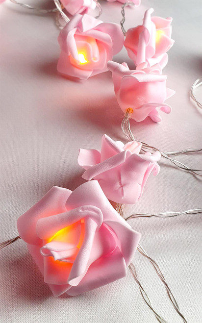 Vinsani 30 LED Pink Rose Chain Flower Indoor Seasonal D?cor Fairy Lights