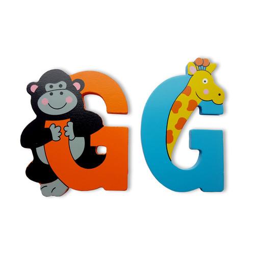 U Wooden Jungle Animal Upper Case Alphabet Letters Self Adhesive