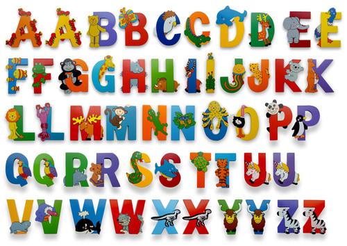 Vinsani Wooden Jungle Animal Upper Case Alphabet Letters Personalised Bedroom Wall Door Name