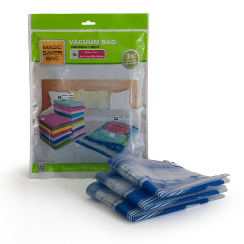 Magic Saver Bag - [3 x XXLarge 80 x 100 cm] Vacuum Storage Bags - Queen Pack