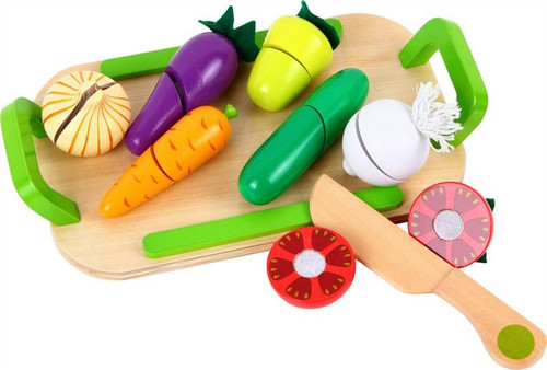 Lelin Wooden Cutting Vegetable Play Set Childrens Food Pretend Play