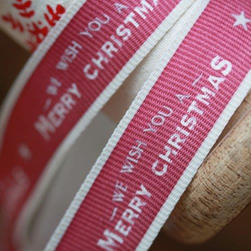 East Of India Christmas Ribbon Red We Wish You Merry Christmas 3 Metre