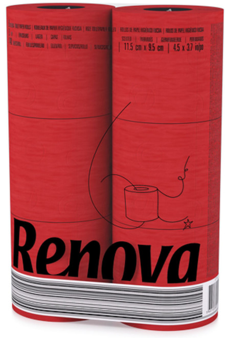 Renova [24 Rolls Red] 3 Ply Soft Colour Toilet Loo Bathroom Tissue Paper Rolls