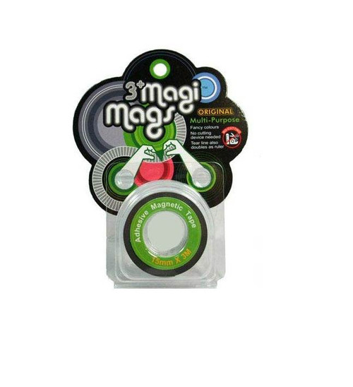 3+ Magi Mags Multi-Purpose Flexible Adhesive Double-sided Magnetic Cello Tape With Measure Markings - Classic Green