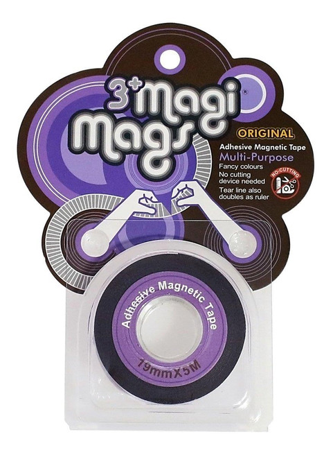 3+ Magi Mags Flexible Adhesive Double-sided Magnetic Cello Tape With Measure Markings - Neon Purple