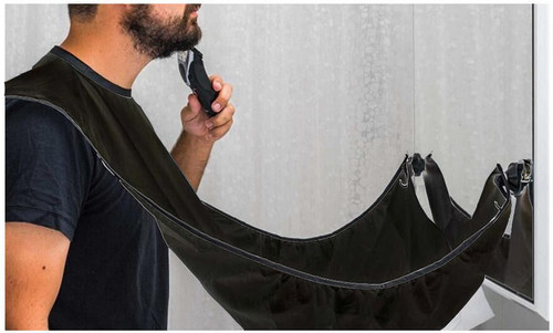 Vinsani Beard Bib Catcher Trim Shave Facial Hair Beard Apron - Black