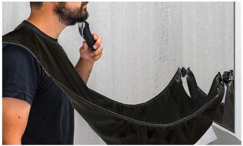 Vinsani Beard Bib Catcher Trim Shave Facial Hair Beard Apron - Black