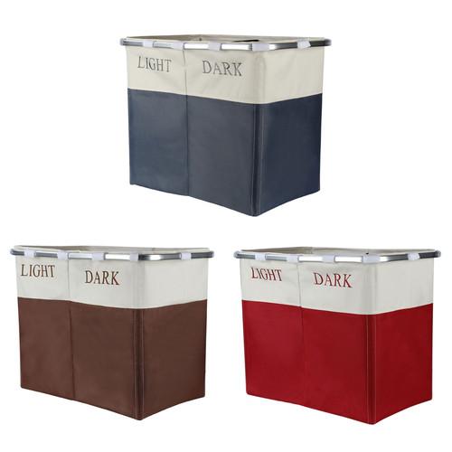 Vinsani Lights and Darks Folding Laundry Sorter Basket Box Bag Bin Hamper Washing Cloths Storage 2 Compartments, Metal - Red/Grey/Brown