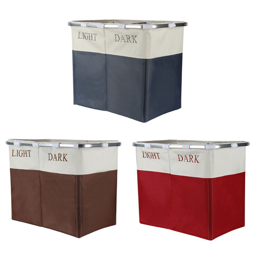 Vinsani Lights and Darks Folding Laundry Sorter Basket Box Bag Bin Hamper Washing Cloths Storage 2 Compartments, Metal - Red/Grey/Brown
