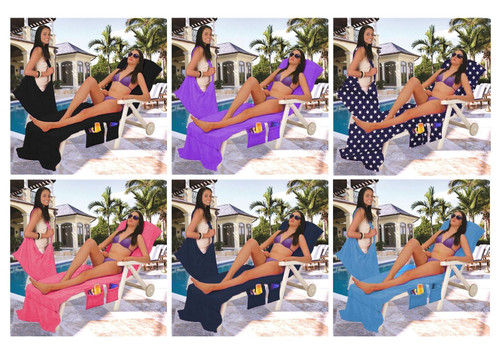 Vinsani Sun Lounger Beach Towel Carry With Pockets Bag For Holiday Summer Garden