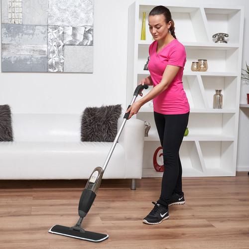Vinsani Black Spray Floor Mop Water Spraying Floor Cleaner Refillable Bottle Suitable for Hardwood, Wood, Vinyl, Ceramic, Concrete, Tiles Laminate floors Includes 2 Machine Washable Microfibre Pads