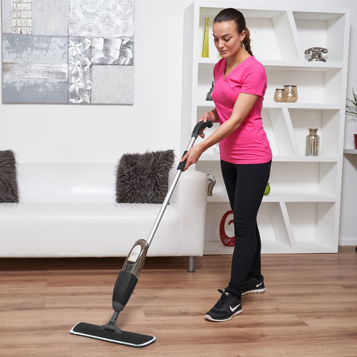 Vinsani Black Spray Floor Mop Water Spraying Floor Cleaner Refillable Bottle Suitable for Hardwood, Wood, Vinyl, Ceramic, Concrete, Tiles Laminate floors Includes 2 Machine Washable Microfibre Pads