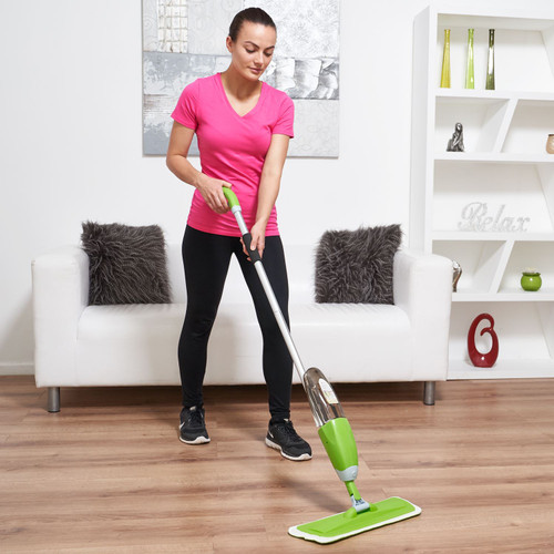 Vinsani Green Spray Floor Mop - Water Spraying Floor Cleaner with Refillable Bottle Suitable for Hardwood, Wood, Vinyl, Ceramic, Concrete, Tiles Laminate floors Includes 2 Machine Washable Microfibre Pads