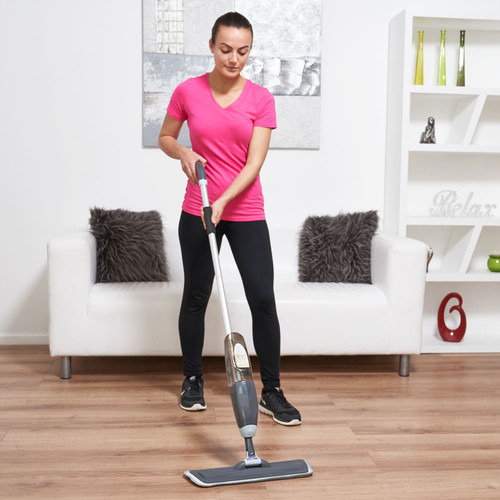 Vinsani Grey Spray Floor Mop Water Spraying Floor Cleaner Refillable Bottle Suitable for Hardwood, Wood, Vinyl, Ceramic, Concrete, Tiles Laminate floors Includes 2 Machine Washable Microfibre Pads