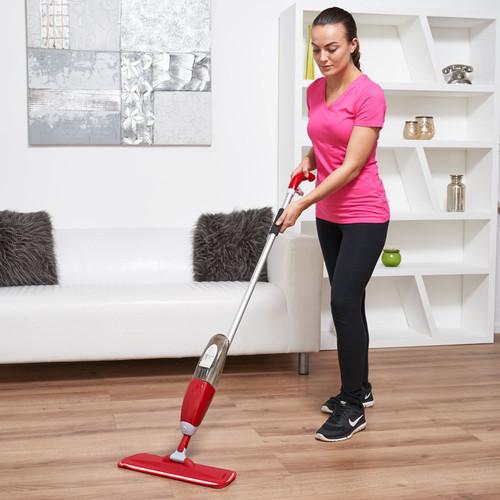 Vinsani Red Floor Spray Mop Water Spraying Floor Cleaner Refillable Bottle Suitable for Hardwood, Wood, Vinyl, Ceramic, Concrete, Tiles Laminate floors Includes 2 Machine Washable Microfibre Pads