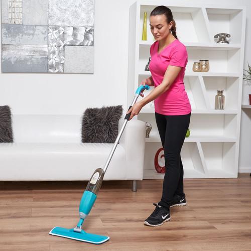 Vinsani Blue Spray Floor Mop Water Spraying Floor Cleaner Refillable Bottle Suitable for Hardwood, Wood, Vinyl, Ceramic, Concrete, Tiles Laminate floors Includes 2 Machine Washable Microfibre Pads