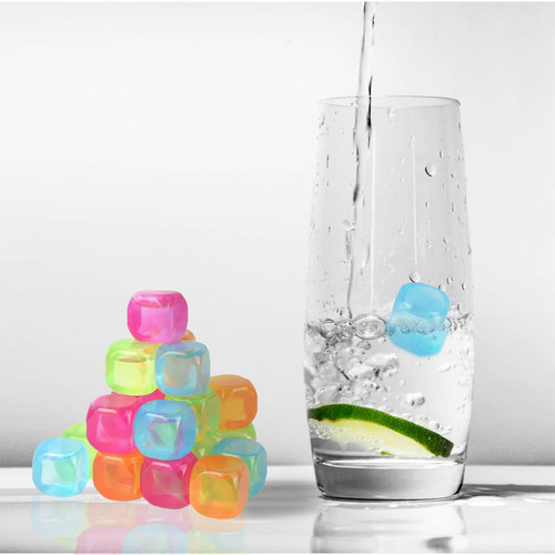 Vinsani 20 Pack Frozen Cold Drink Freezer Chlled Reusable Ice Cubes - Multicoloured