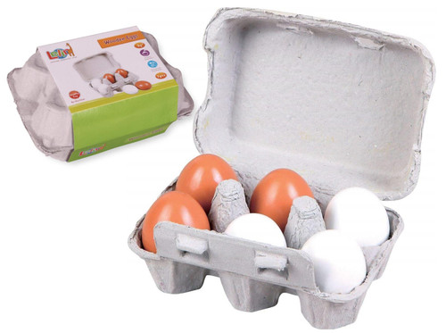 Lelin 6 Wooden Fake Eggs in Carton Pretend Play Pre-school Educational Toy Kitchen Food Toy