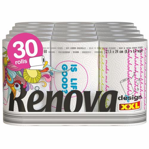 Renova Design Paper Kitchen Towels - 30 XXL Rolls