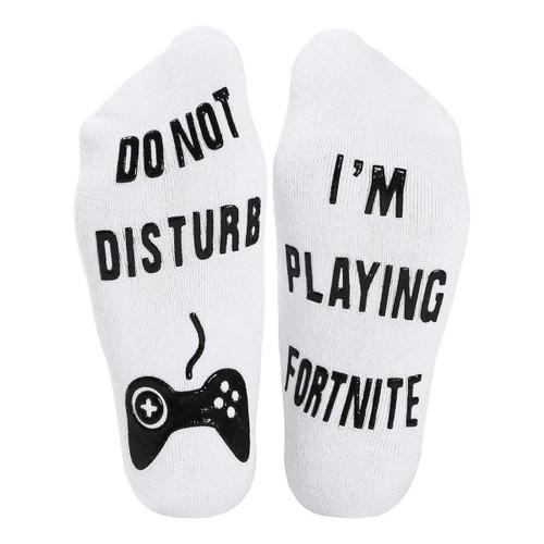 Vinsani Do Not Disturb, I'm Playing Fortnite' Funny Ankle Socks - Great Gamer Gift For Fortnite Lovers - White Socks