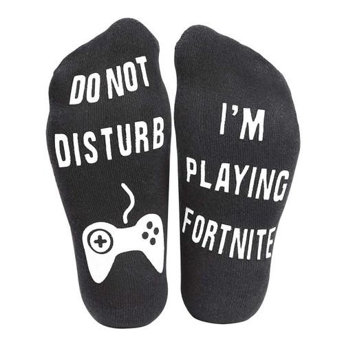Vinsani Do Not Disturb, I'm Playing Fortnite' Funny Ankle Socks - Great Gamer Gift For Fortnite Lovers - Black Socks