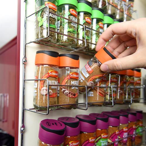 Vinsani 1 / 2 / 3 / 4 / 5 / 6 Tier Spice Herb Jar Rack Holder for Kitchen Door Cupboard Wall Storage Unit