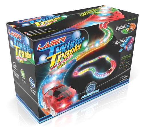Mindscope LED Laser Twister Tracks 12 Feet of Light Up Flexible Track + 1 Light Up Race Car Each Individual Track Piece Contains Lights (Standard Colour System)