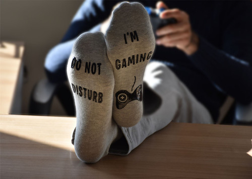Vinsani 'Do Not Disturb, I'm Gaming' Funny Ankle Gamer Socks - Grey