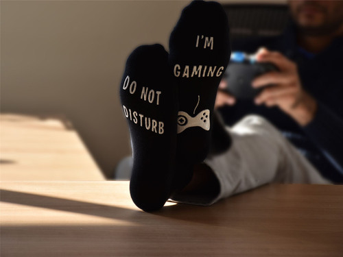 Vinsani 'Do Not Disturb, I'm Gaming' Funny Ankle Gamer Socks - Black