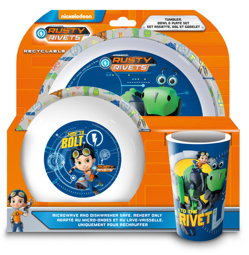 Rusty Rivets Children Kids Tumbler Bowl and Plate Set of 3